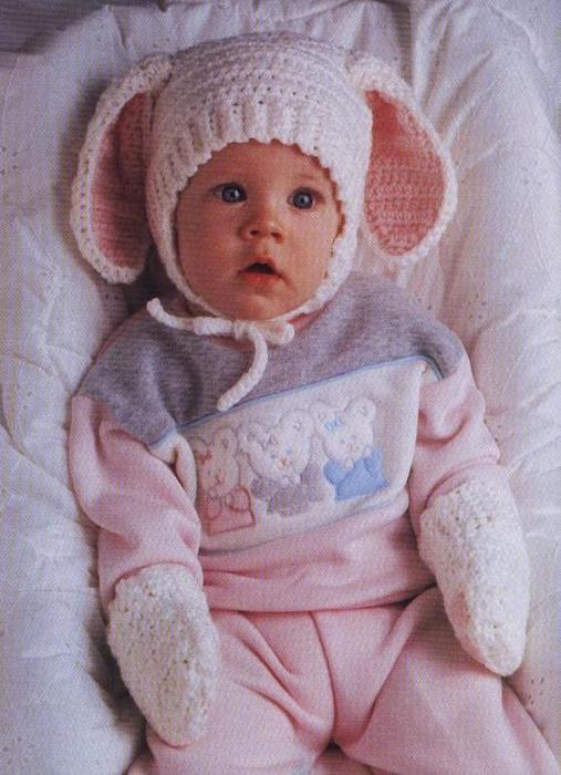 Схема вязания шапочки для младенцев.