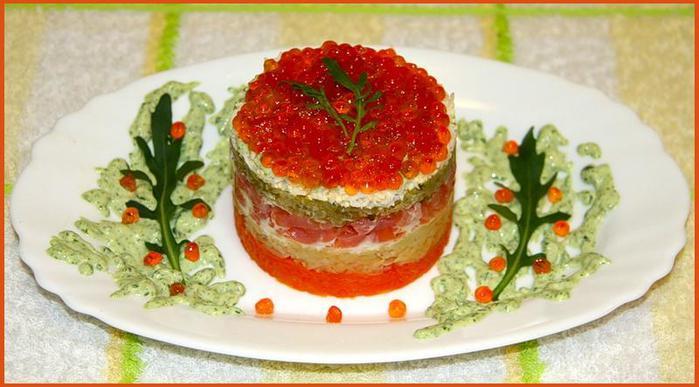 Салат с семгой и икрой красной рецепты
