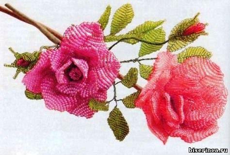 Цветы из бисера. Букет из роз.