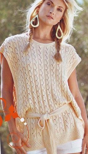 Пуловер связан спицами №3.5 из