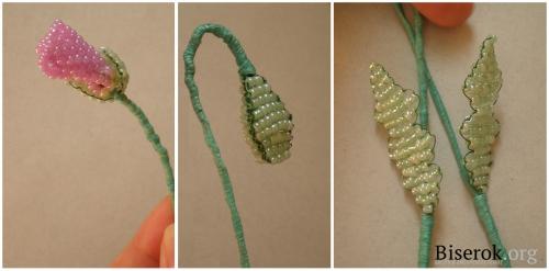 Делаем бутон мака из бисера.  Изготовление Poppy Flower Bead.