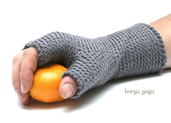мужские перчатки вязать спицами видео