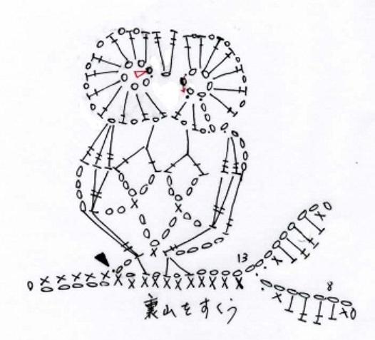 Схема вязание совы