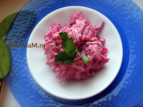 Рецепт салат кальмары свекла
