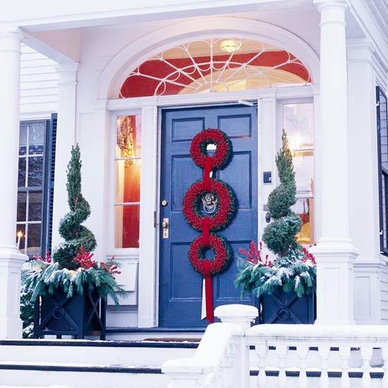 Украшения двери к новому году своими руками