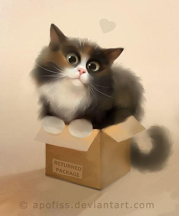 Rihards Donskis кошки картины 9 (579x700, 29Kb)