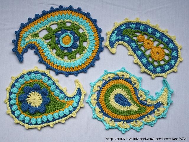 Ирландское кружево Вязание крючком для начинающих Схемы вышивки в стиле пейсли
