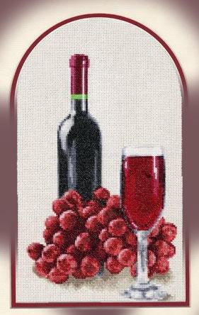 Вышивка. Натюрморт с вином