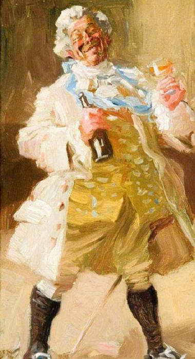 Alfred James Munnings.Old Man in Period Costume Holding a Bottle and Glass (380x700, 47Kb)
