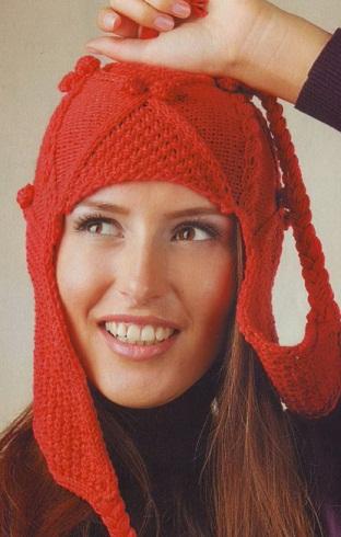 ...г. Красная шапка-ушанка связана спицами 3.5 из 100 г пряжи Jeans (55...