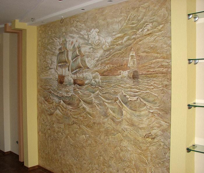 Декоративная штукатурка на стене своими руками фото