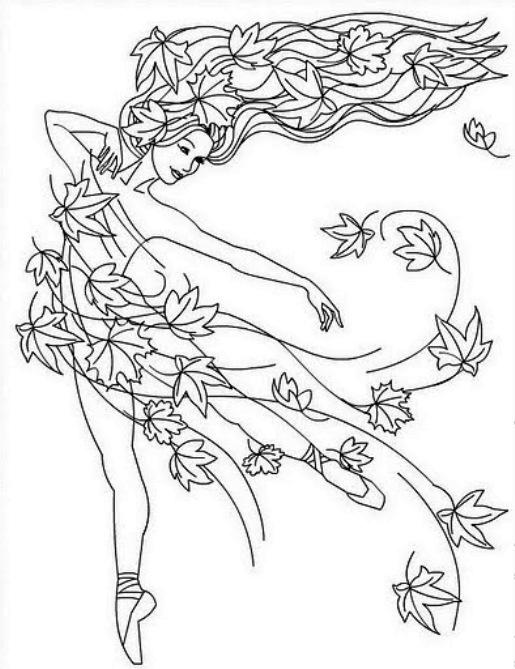 Раскраска девочка осень - 1