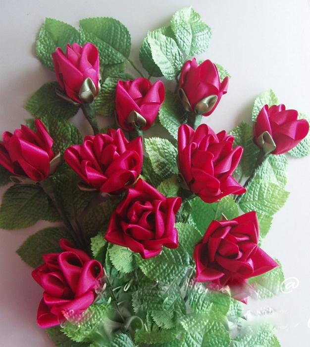 Цветы из лент своими руками мастер