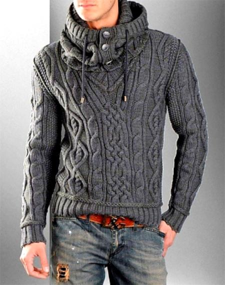 Мужской полувер со снудом  от Dolce&Gabbana; — Вязание спицами и крючком