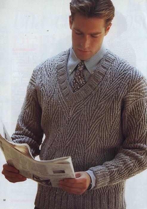 Мужской пуловер спицами.
