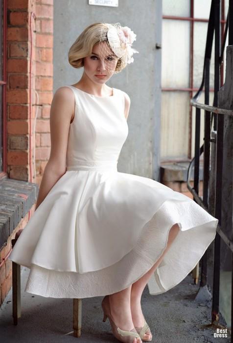 Самое красивое короткое свадебное платье 7