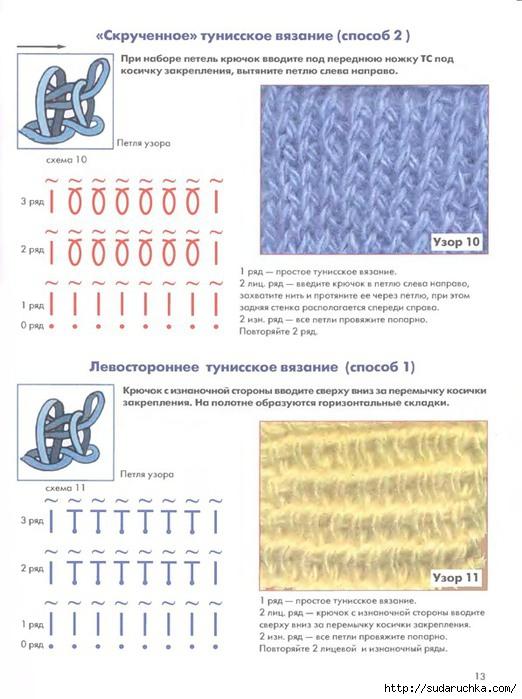 Схемы узоров тунисское вязание