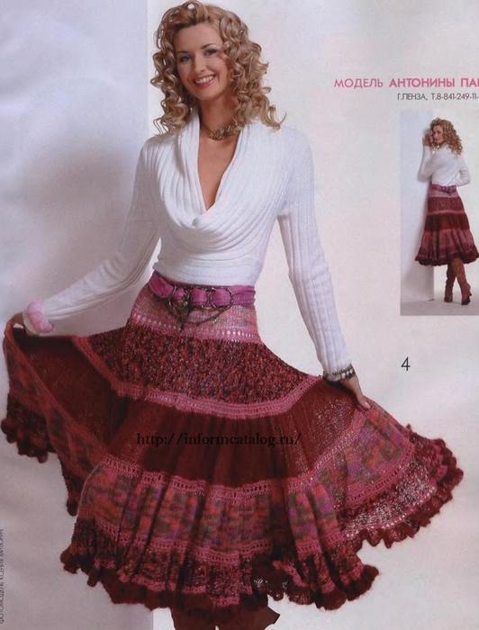 Трехъярусная юбка в пол