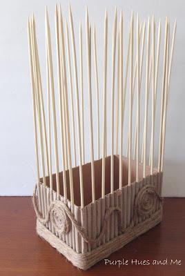 Декоративная ваза из картона, джута и шашлычных палочек (10) (268x400, 81Kb)