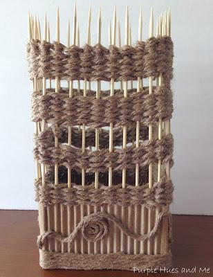 Декоративная ваза из картона, джута и шашлычных палочек (16) (308x400, 122Kb)