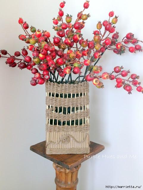 Декоративная ваза из картона, джута и шашлычных палочек (18) (481x640, 214Kb)