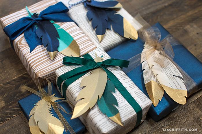 Перышки из бумаги для декоративной упаковки подарков (2) (700x466, 493Kb)