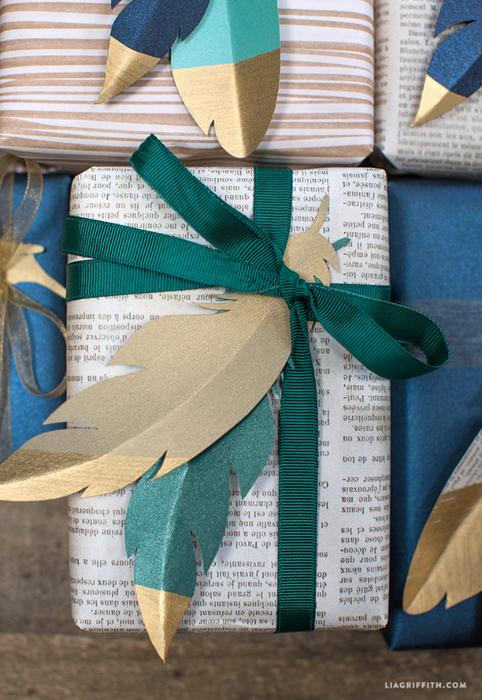 Перышки из бумаги для декоративной упаковки подарков (6) (482x700, 524Kb)