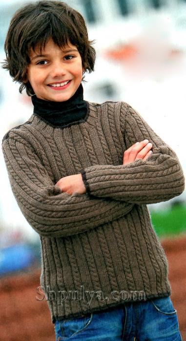 Коричневый вязаный пуловер с косами для мальчика, вяжем детям, пуловер для мальчика с косами спицами, детский пуловер спицами, /5557795_1158_1 (381x700, 227Kb)
