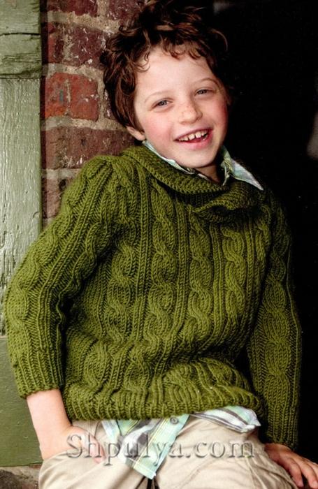 Зеленый вязаный пуловер с косами для мальчика вяжем детям, пуловер для мальчика спицами, пуловер с косами спицами, вязание для детей, зеленый пуловер для мальчика, /5557795_1080_1 (455x700, 272Kb)