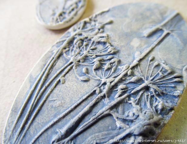 Техника отпечатывания растений на глине,мастер класс,ботаника поделки