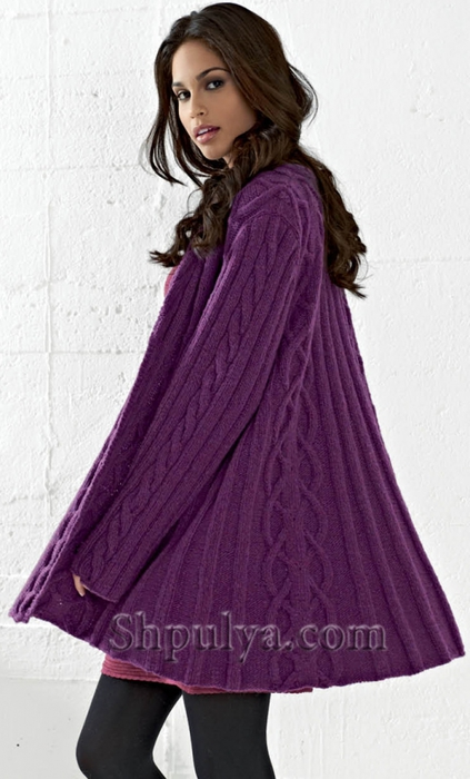 Расклешенное пальто с капюшоном и узором из кос, вязание спицами, пальто спицами описание схемы, пальто с косами спицами, фиолетовое пальто спицами, пальто клеш спицами, /5557795_1131_1 (423x700, 196Kb)
