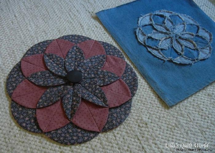 Лоскутное шитье. Подушка с цветком (4) (700x498, 313Kb)