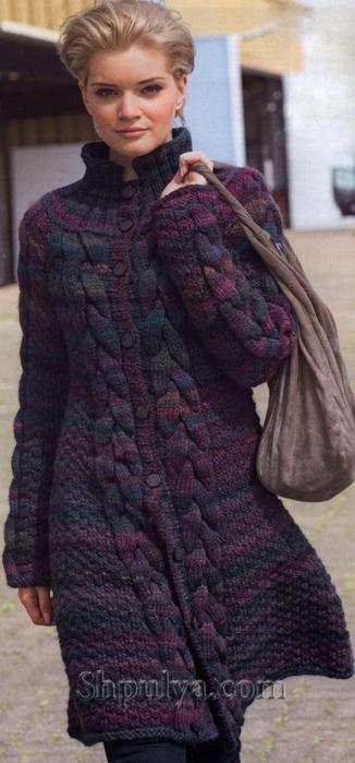 Меланжевое пальто с косами, вязаное спицами, вязаное пальто спицами описание схема, пальто с косами спицами, из толстой пряжи спицами, вяжем женское пальто спицами, /5557795_1127_1 (326x700, 183Kb)