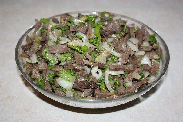 Салат с говяжьим сердцем и грибами рецепт с