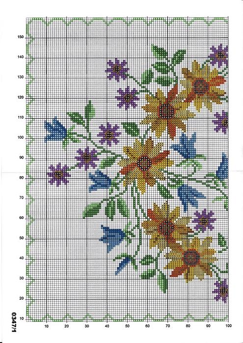 Схемы для вышивки крестом дорожки розы