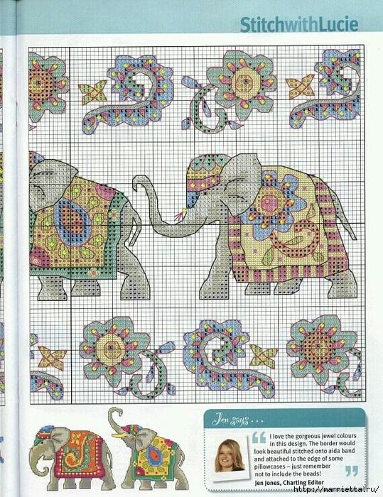 Индийский слон вышивке