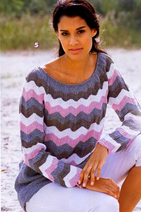Пуловер узор зигзаг