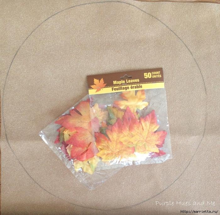 Декоративная салфетка из искусственных осенних листьев (1) (700x684, 397Kb)