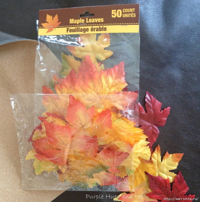 Декоративная салфетка из искусственных осенних листьев (2) (692x700, 424Kb)