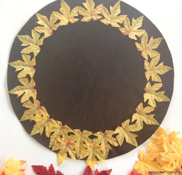 Декоративная салфетка из искусственных осенних листьев (4) (700x674, 326Kb)