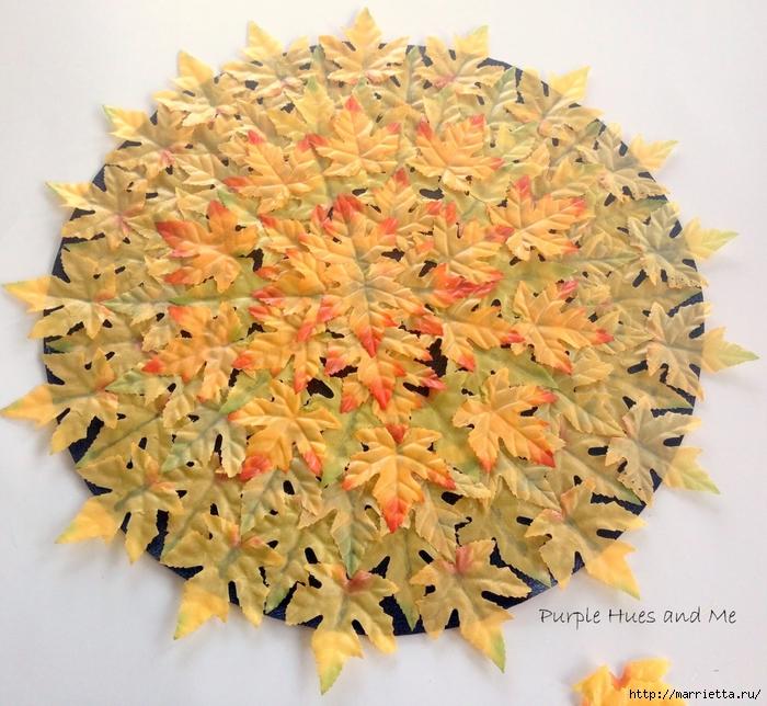 Декоративная салфетка из искусственных осенних листьев (6) (700x644, 369Kb)