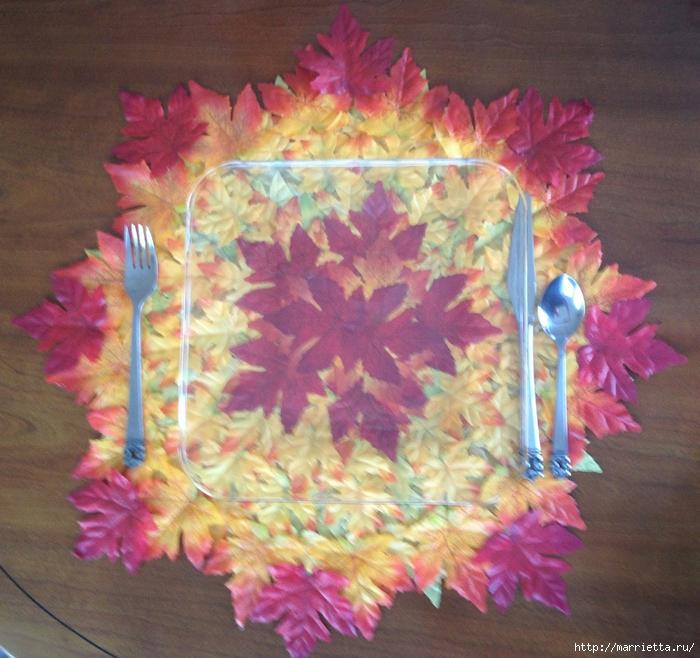Декоративная салфетка из искусственных осенних листьев (10) (700x658, 368Kb)