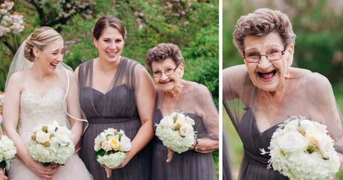 89 летняя бабушка стала подружкой невесты на свадьбе внучки
