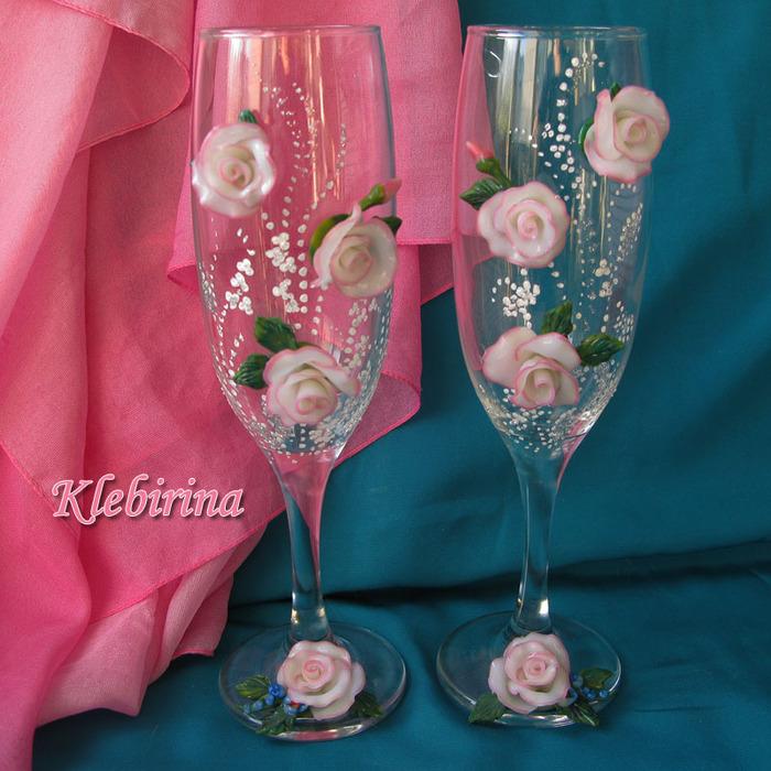 Бокалы свадебные своими руками из цветов 960