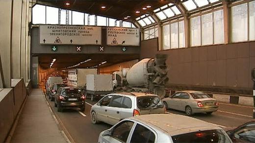 Четыре автобуса столкнулись в Кутузовском тоннели