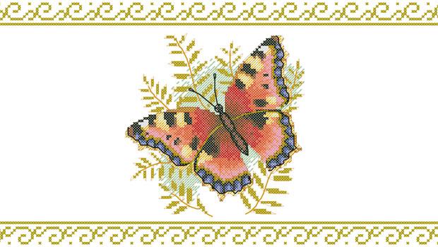 Вышивка крестом бабочки на фоне листвы.  Читать статью полностью на mirmotka.ru : Схема для вышивания крестом...