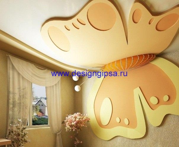 Дизайн потолка зала из гипсокартона фото