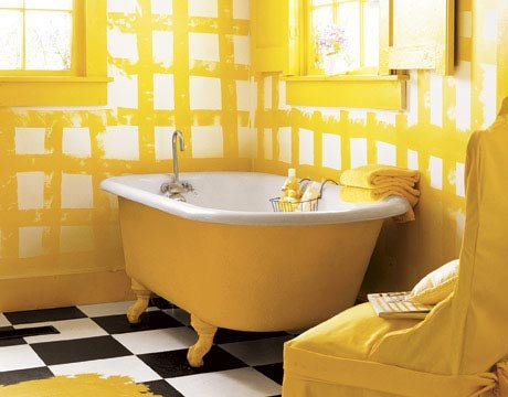 Blue and yellow bathroom decorating ideas