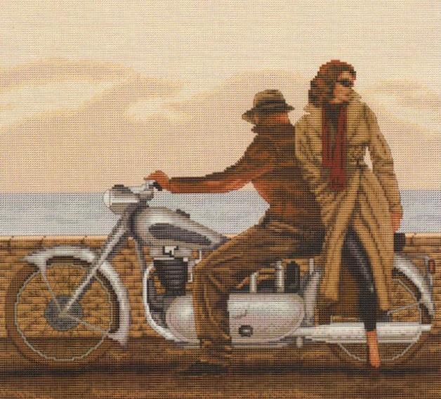 Вышивка крестом, схемы Пара у мотоцикла.