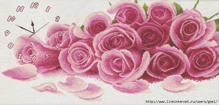 Как успешно цитировать пост с вложением в свой дневник на ЛиРу.  Часы с розами.  Вышивка крестом, схемы.